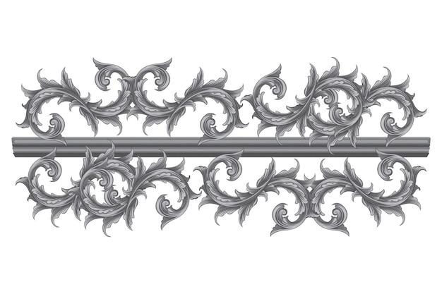 Декоративный бордюр, нарисованный вручную в стиле барокко