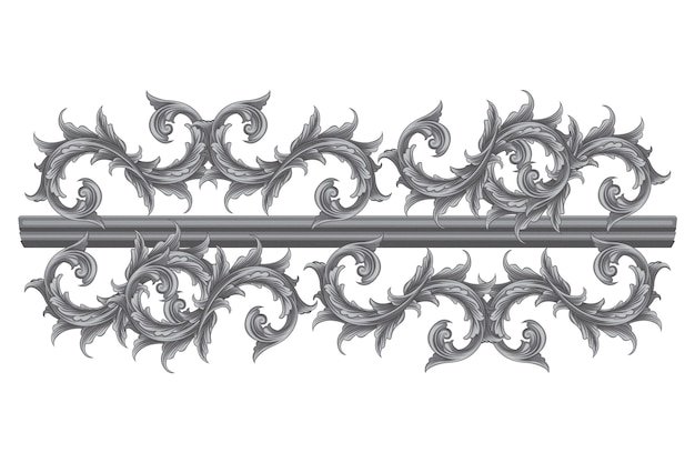 Ornamental border hand-drawn baroque
