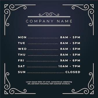 Illustrazione ornamentale di orari di apertura di affari