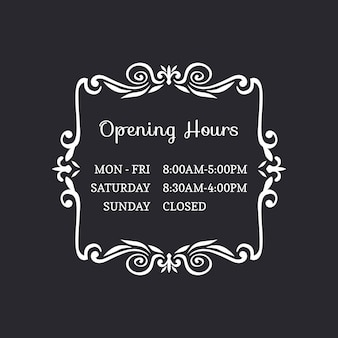 Ornamental business opening hours