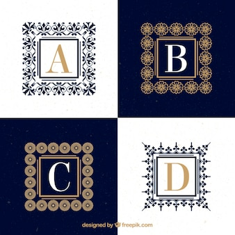 Ornamental capital letter logos with frames