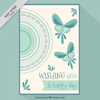 Ornamental card with butterflies in vintage style