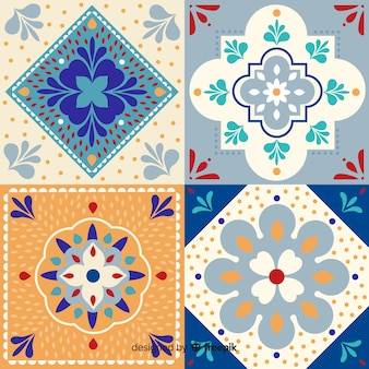Ornamental collection of tiles