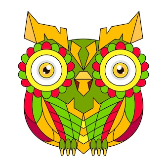 Ornamental color owl with flowers and mandala. african, indian, totem, tattoo