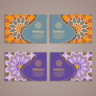 Ornamental colorful template for business card.