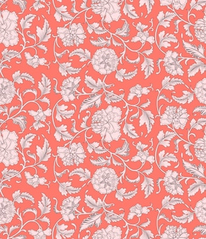 Ornamental coral floral seamless pattern