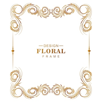 Ornamental creative golden floral frame with white background