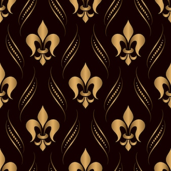 Ornamental damask seamless pattern golden