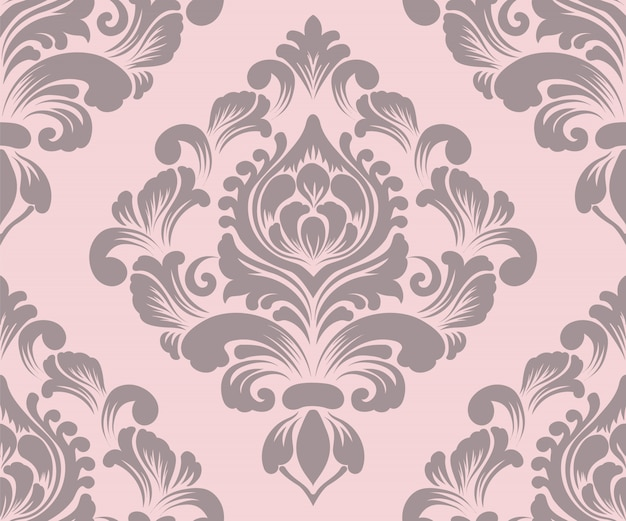 Ornamental damask seamless pattern
