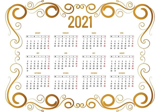 Floreale decorativo ornamentale per il disegno del calendario 2021