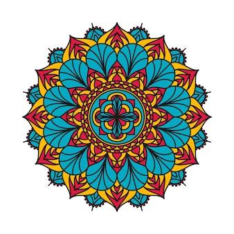 カラフルな装飾的な装飾的な曼荼羅のパターンデザイン。丸い装飾要素