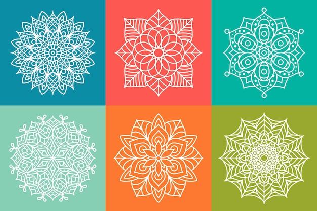 装飾的な装飾的な曼荼羅のパターンデザイン、花曼荼羅の輪郭を描きます。丸い装飾要素