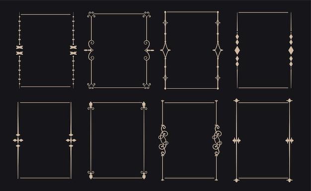 8つの装飾的な装飾的なビンテージフレームセット