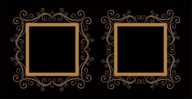 Ornamental decorative wedding floral frame set of two