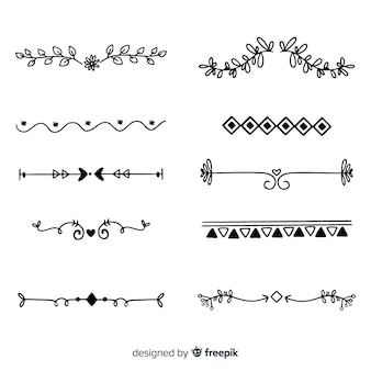 Ornamental divider hand drawn set