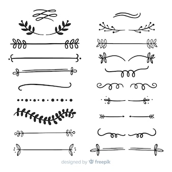 Ornamental divider hand drawn set