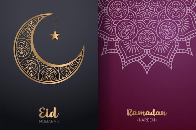 Ornamental eid mubarak and ramadan kareem card with mandala and crescent moon.