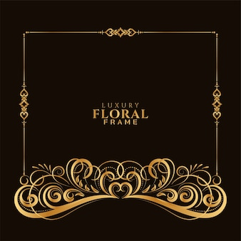 Ornamental elegant golden decorative floral frame design