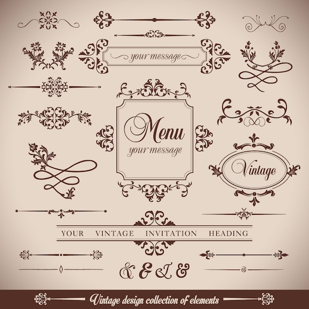 Ornamental elements, vintage style