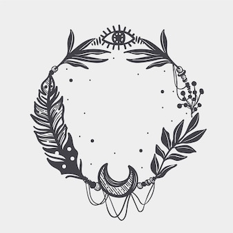 Cornice boho disegnata a mano con incisione ornamentale