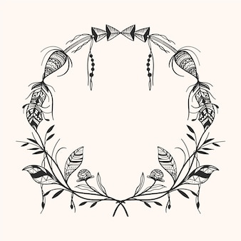 Ornamental engraving hand drawn boho frame