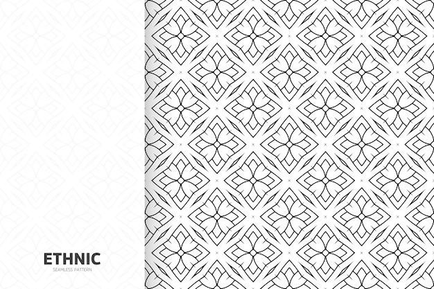 装飾用エスニックモノクロシームレスパターンテンプレート