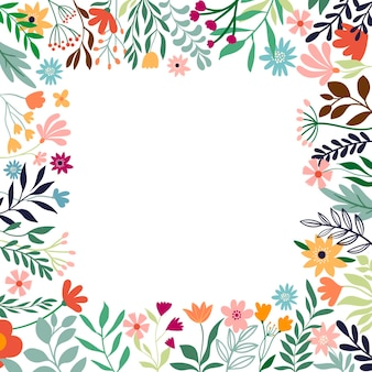 Ornamental floral border decorative frame with different flowers and plants template for summer