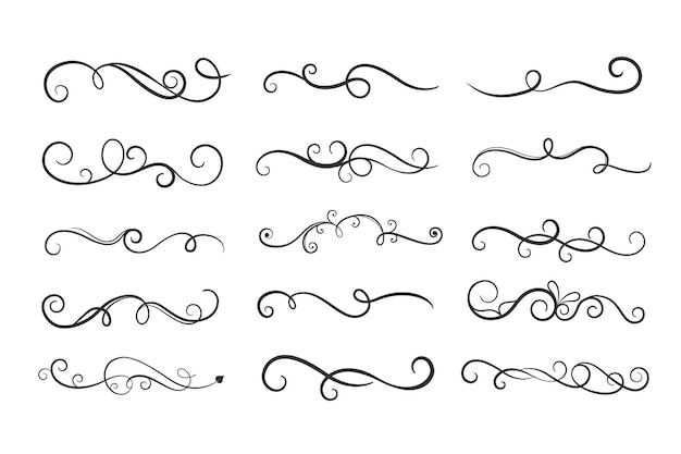 Ornamental floral curls borders mega set
