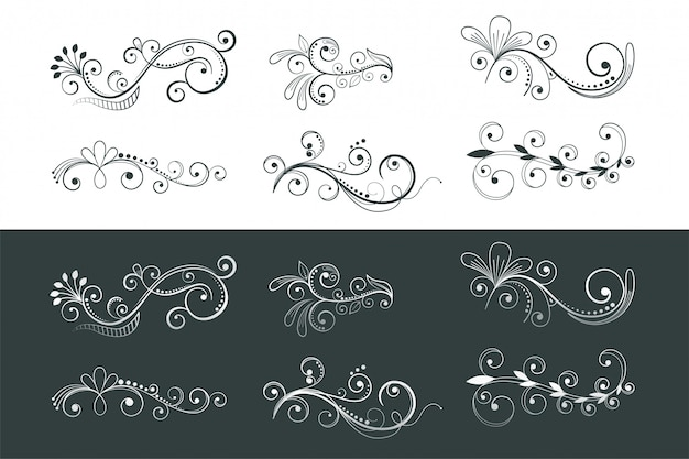 Ornamental floral decoration swirl pattern collection