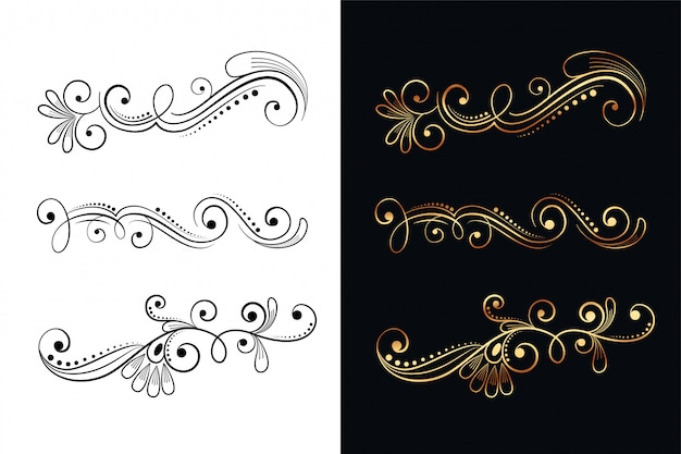 Ornamental floral decorative design elements set of six