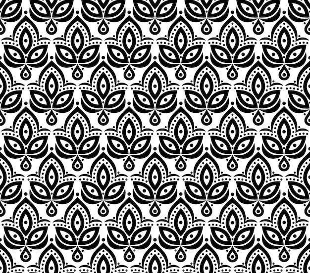 ヴィンテージの踏み越し段のデザインのための装飾的な花の要素パターンの背景。ベクトルのシームレスなテクスチャ。