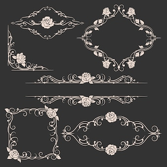 Ornamental floral frames set