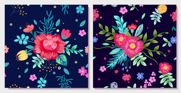Ornamental floral illustration with colorful flowers with leaves