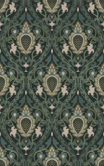 カーペットの壁紙の織物のための装飾的な花飾り中世の緑のテンプレート