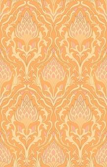 装飾用の花飾り。壁紙、テキスタイルのオレンジ色の東のパターン。