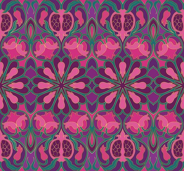 装飾用の花柄。ザクロとカラフルな背景。テキスタイル、カーペット、壁紙、ショールのテンプレート。