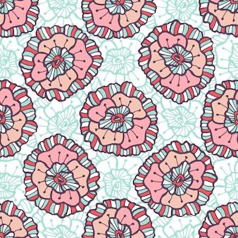 관 상용 꽃 패턴입니다. 벡터 boho 배경