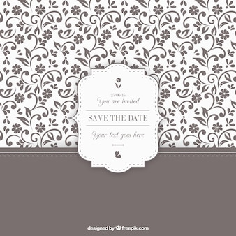 Ornamental floral wedding invitation