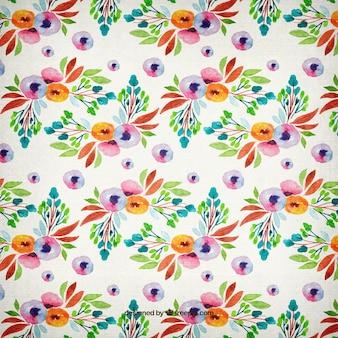 관 상용 꽃과 나뭇잎 패턴 수채화