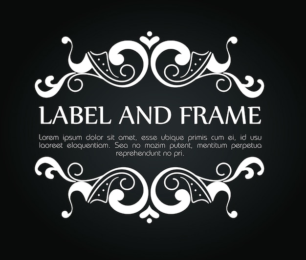 Ornamental frame for luxury label with text template