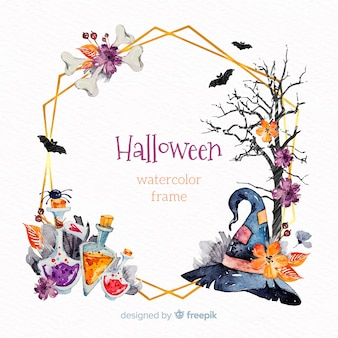 Ornamental frame with watercolor halloween elements