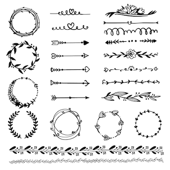 Декоративные рамки и стрелки рисованной коллекции
