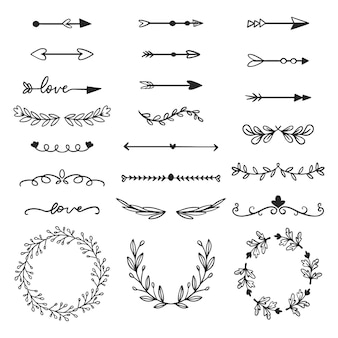Ornamental frames and arrows hand drawn collection
