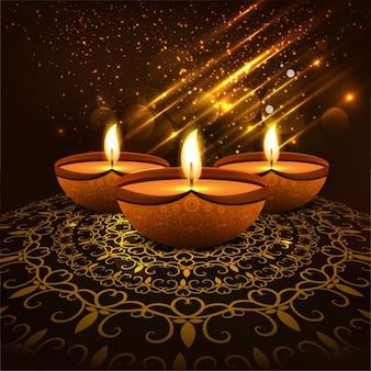 Ornamental golden bright diwali background