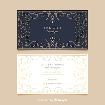 Ornamental golden business card template