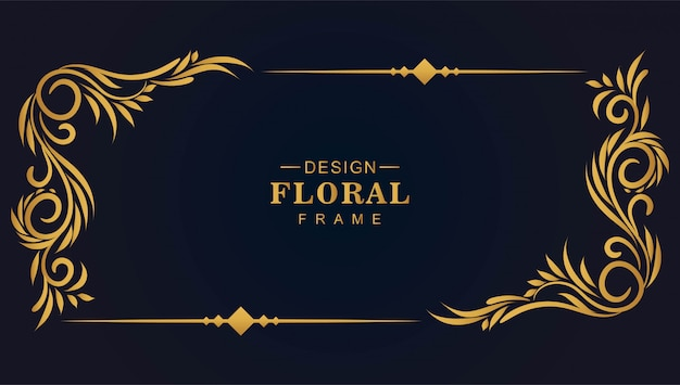 Ornamental golden decorative floral frame background