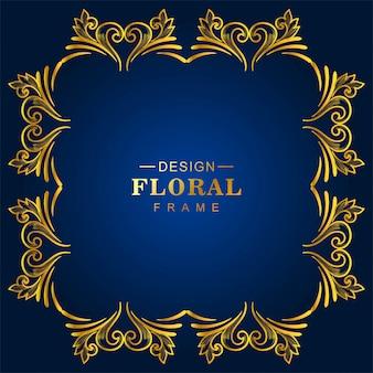 Ornamental golden decorative floral frame