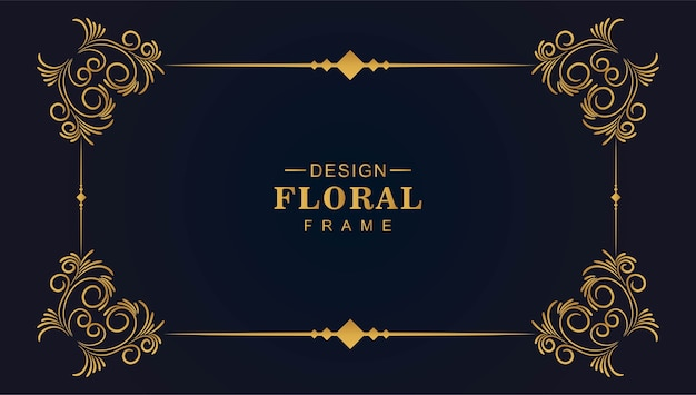 Ornamental golden decorative floral frame