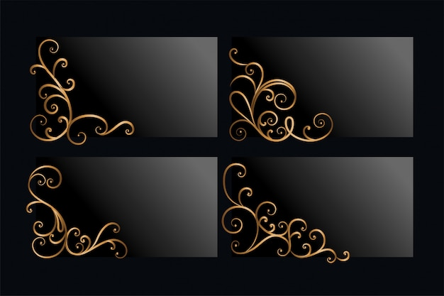 Ornamental golden floral corners set with text space