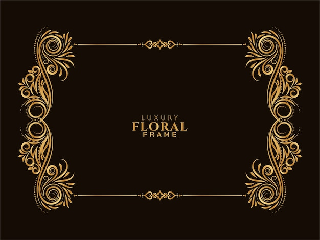 Ornamental golden floral frame design background